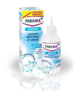 paranix sensitive traitement anti poux et lentes, 150 ml, 16 euros. ds 6 mois. 