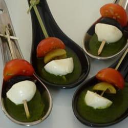 cuillère tomate, pesto, mozza
