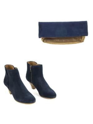 boots bleu marine et pochette bleu marine et dor e de sess n a chaque chaussure son sac pour. Black Bedroom Furniture Sets. Home Design Ideas