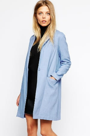blazer mi long bleu ciel de asos la tendance du blazer long en 15 pi ces journal des femmes. Black Bedroom Furniture Sets. Home Design Ideas