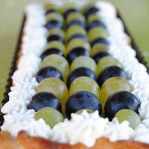 tarte à la crème et raisins