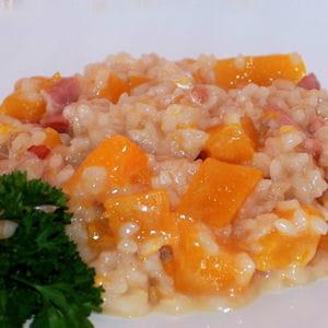 risotto au potiron et aux lardons
