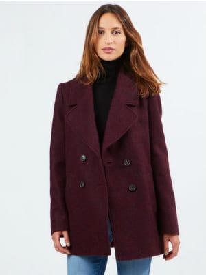 Caban bordeaux d 39 etam au chaud dans mon manteau journal des femmes - Journal des femmes com ...