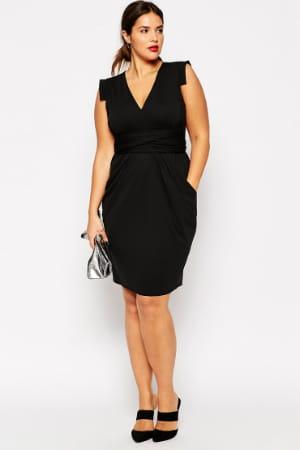 robe noire en cr pe d 39 asos curve. Black Bedroom Furniture Sets. Home Design Ideas