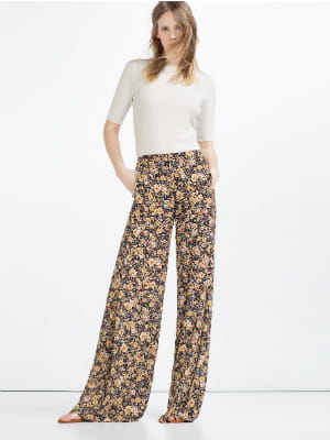 pantalon flare fleurs de zara. Black Bedroom Furniture Sets. Home Design Ideas