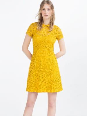 robe moutarde de zara quoi de neuf sous le soleil de zara journal des femmes. Black Bedroom Furniture Sets. Home Design Ideas