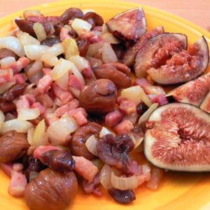 poêlée de lardons et marrons aux figues