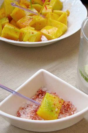 Cubes de mangue verte au piment d'Espelette : Les recettes