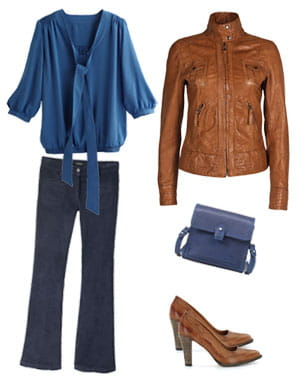 blouson de massimo dutti (275 euros), blouse de camaïeu (24,95 euros), sac de