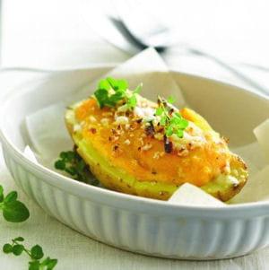 pommes de terre farcies, potiron et noisettes