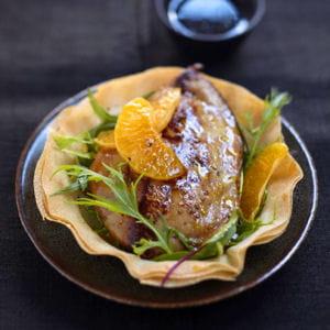 foie gras fermier des landes chaud aux clémentines
