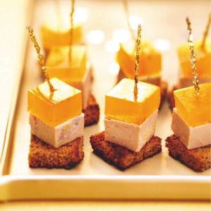 cubes de foie gras, gelée safranée