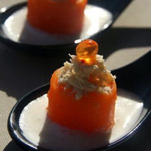 bouchées de carotte et crabe au yuzu