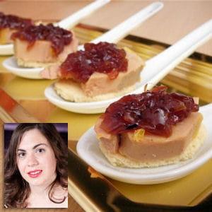 foie gras sur toast et confit d'oignon rose
