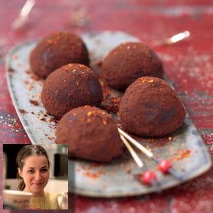 truffes choco fraises au piment d'espelette