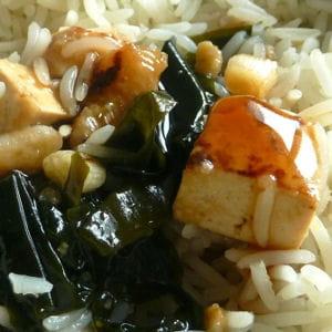 tofu pané aux algues wakamé, sauce yakitori
