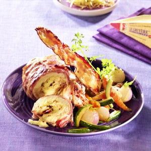 poulet fermier au gruyère aoc suisse, ventrèche des pyrénées et ses légumes