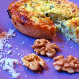 tartelettes au poireau, noix et parmesan