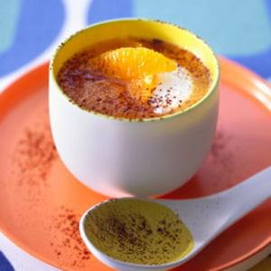 velouté de carottes, jus d'orange et cacao