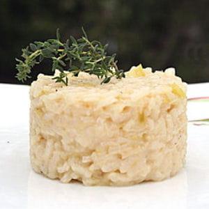 risotto à l'ail et aux poireaux