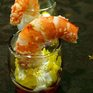 verrine de crevette et mangue à l'indienne