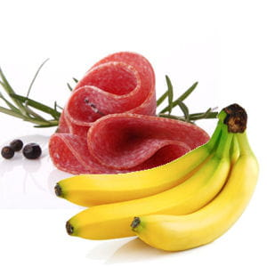 tartine de bananes, salami et sucre