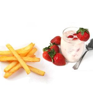 frites et yaourt à la fraise