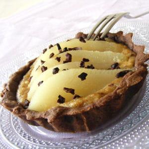 tartelettes choco-poire, crème noisette et café