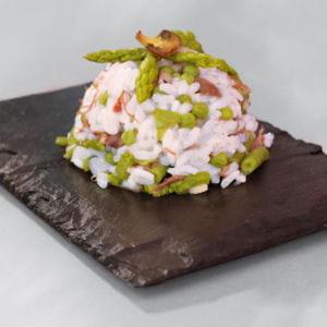 risotto au canard confit et légumes verts