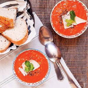 soupe de tomates à l'orge mondé