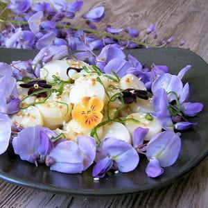 salade de fleurs de glycine et coeurs de palmier