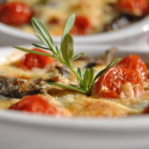 clafoutis d'aubergines et tomates confites 