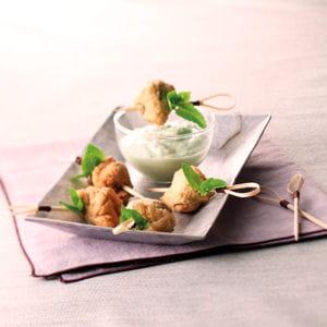 tempuras d'escargots à la menthe et crème d'artichaut