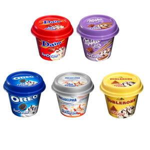 crèmes glacées daim, milka, oreo, philadelphia, toblerone