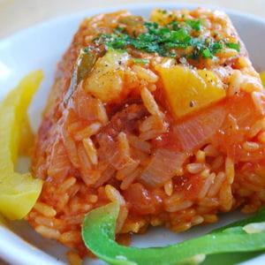 riz au chorizo, poivrons et ananas