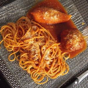 calamars farcis et ses spaghettis