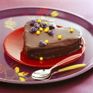 gâteau coeur tendre au chocolat