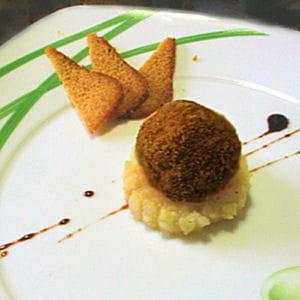 truffe de foie gras, compote de poire et coing