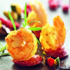 crevettes royales au paprika et chorizo, légumes grillés