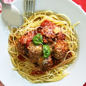 spaghettis aux boulettes de viande