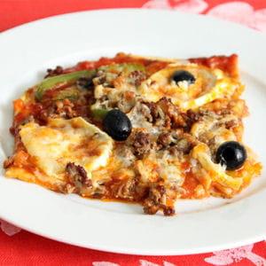 pizza boeuf haché, poivrons et 4 fromages
