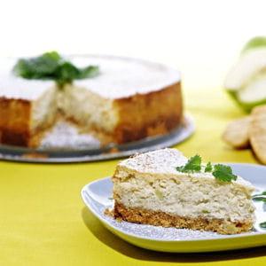cheesecake pomme-cannelle, base aux biscottes suédoises
