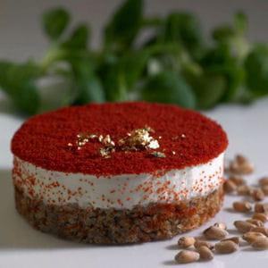 panna cotta au foie gras et coulis de poivrons rouges