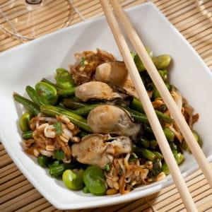 wok d'huitres à la coriandre