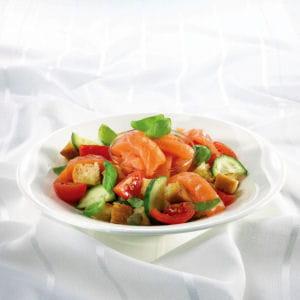 saumon fumé et salade panzanella