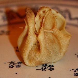 aumônières de foie gras à l'effilochée de lard