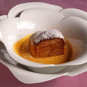 brioche façon pain perdu, crème de carottes au lait de coco