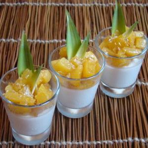 panna cotta coco citron vert, ananas caramélisé vanille bourbon et rhum blanc