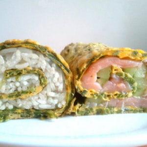 omelette d'asperges version makis