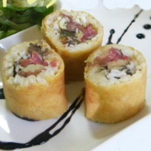 crêpe sushi, foie gras, carpaccio noisettes